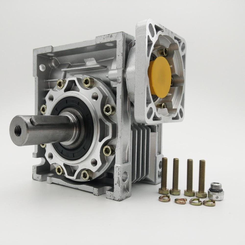 علبة التروس الدودية لمحرك سيرفو/متدرج NEMA42 ، نسبة 5:1 NMRV050 ، 14 مللي متر 19 مللي متر ، عمود الإدخال 90 درجة ، RV50
