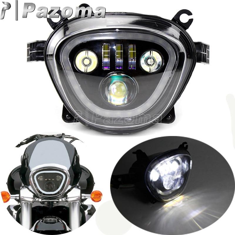 مصباح أمامي LED للدراجات النارية ، مصباح أمامي أسود للدراجات النارية 6500K 110W DRL ، شعاع منخفض وعالي مخصص لسوزوكي VZR1800 M90 2006-2019