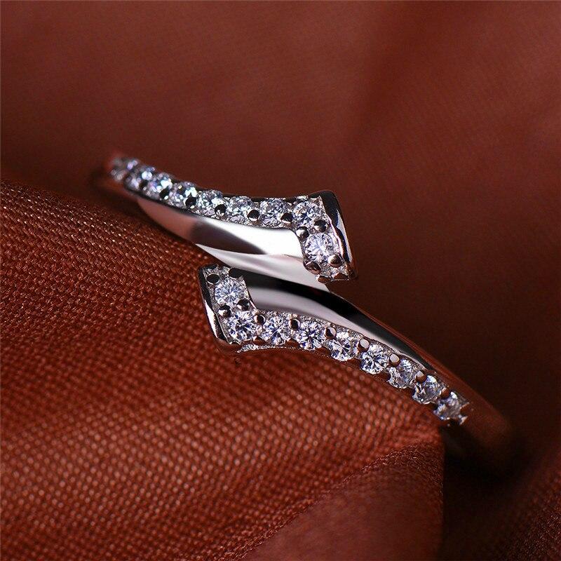 Anillo de piedra pequeña de cristal de moda para mujer, estilo Simple, anillo de compromiso de Plata de Ley 925, anillos de boda de fiesta Vintage