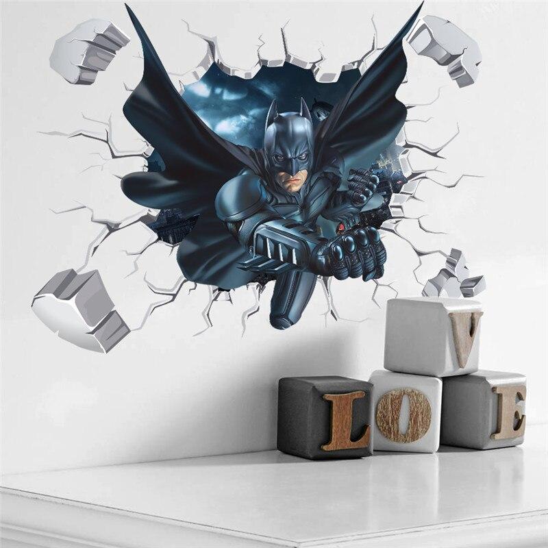Настенные стикеры для детей с героями мультфильмов, Бэтменом, человеком-пауком, домашним декором, 3D эффектом, сломанная Наклейка на стену, подарок, постер
