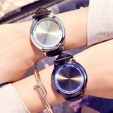 Relojes de moda Cool LED en forma de árbol pantalla táctil con luces azules correa de cuero auténtico reloj Digital amantes reloj de pulsera para hombres y niños