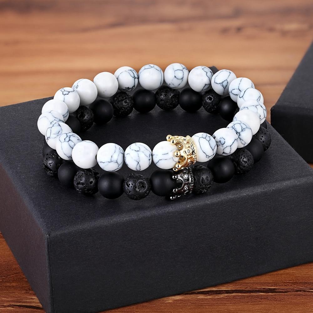 AliExpress - XQNI New Classic Interlocking Stitching Lava & Matte Onyx Stone with Crown Accessories Beads Bracelet Hand Jewelry For Women Men
