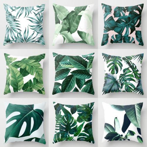 Полиэфирная наволочка с зелеными листьями, подушка для дивана и автомобиля, домашний декор, Новинка