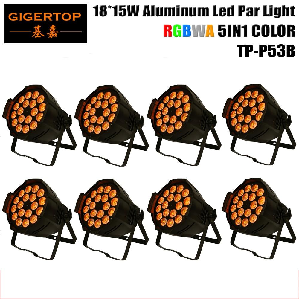 Wholesales 8XLOT LED Stage Light, Aluminum Par 18x15W RGBWA 5IN1 Color Brightness by DMX 512 Control Black Painting OEM LOGO