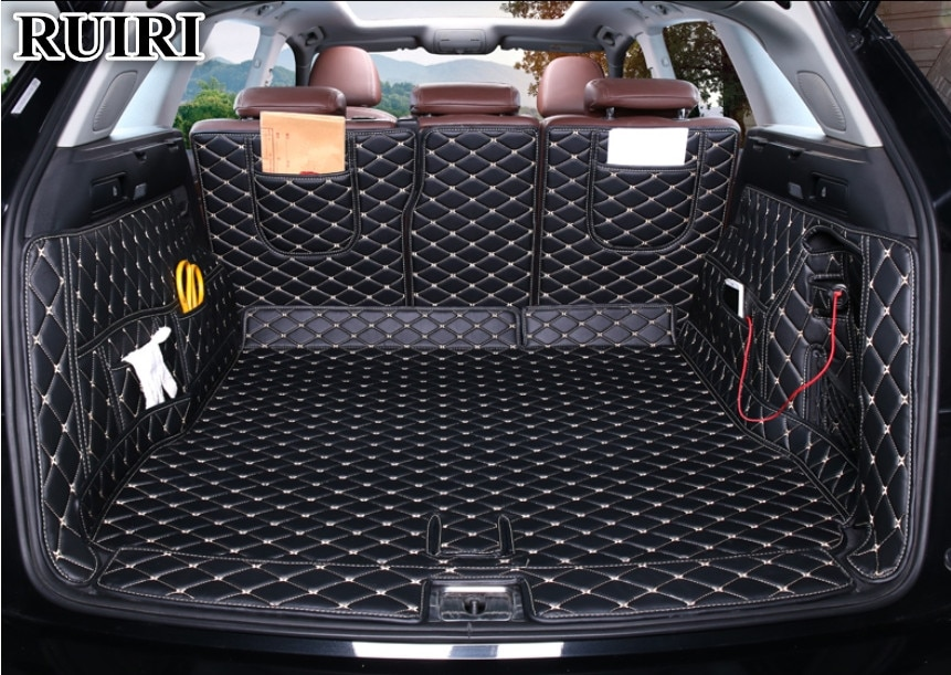 ¡De alfombras de calidad! Juego completo de esteras para maletero de coche para Audi Q5 2017-2009 alfombras duraderas para botas tapete de forro de carga para Q5 2016, envío gratis