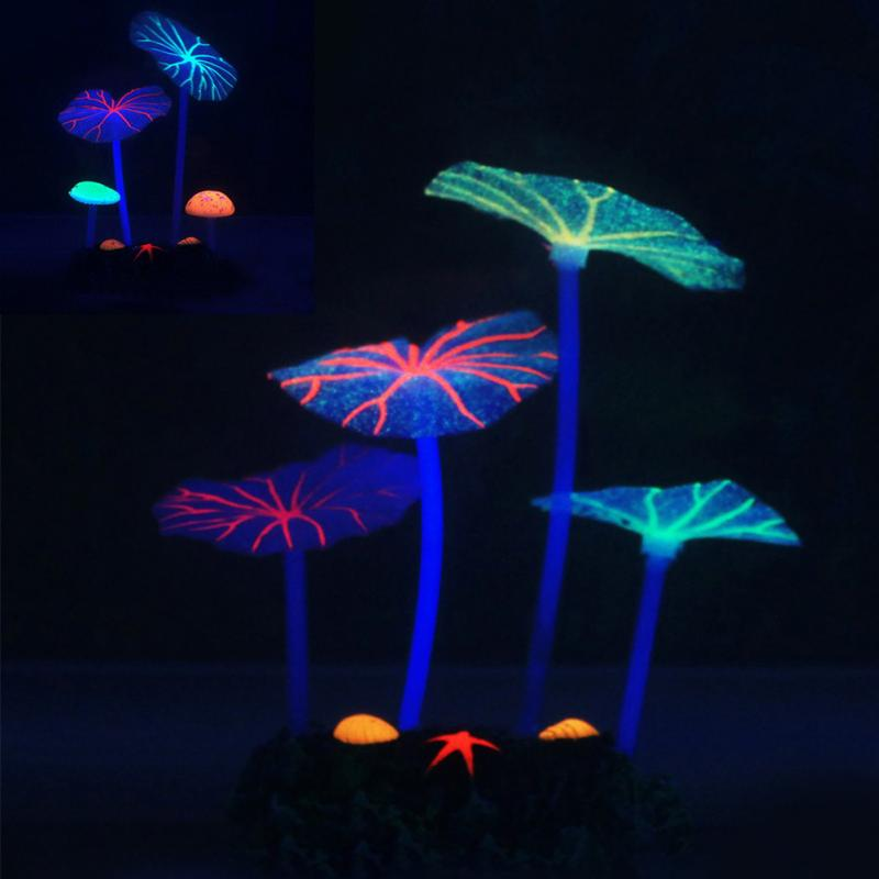 Новый флуоресцентный Искусственный коралловый риф светящийся лист лотоса гриб светящиеся камни аквариумы аквариум светящийся Декор Аксессуары