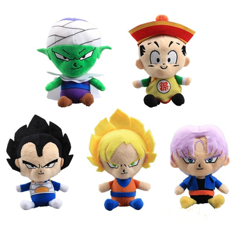 "6 unids/set 12 ""figuras de Dragon Ball Z muñeco de peluche Super Saiyan Goku, Buu, Vegeta, figura de Piccolo suave felpa juguetes modelos de muñecas"