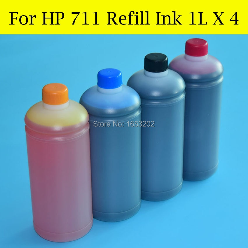 4 Color/Lot HP711 T120 T520 Bulk ink Ciss Cartridge BK Pigment C/M/Y Dye Ink Refill Kit For HP 711 Designjet Printer