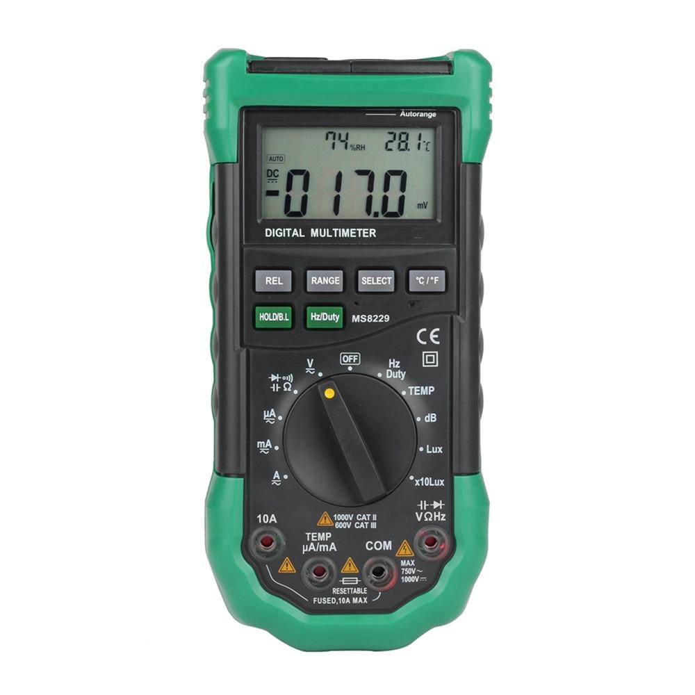 Цифровой мультиметр 5 в 1, многофункциональный измеритель уровня шума, влажности и температуры, ЖК-дисплей, MS8229