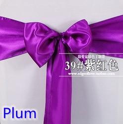 Plum cor cadeira faixa de cetim arco de alta qualidade para as tampas da cadeira faixa spandex festa e decoração do casamento por atacado