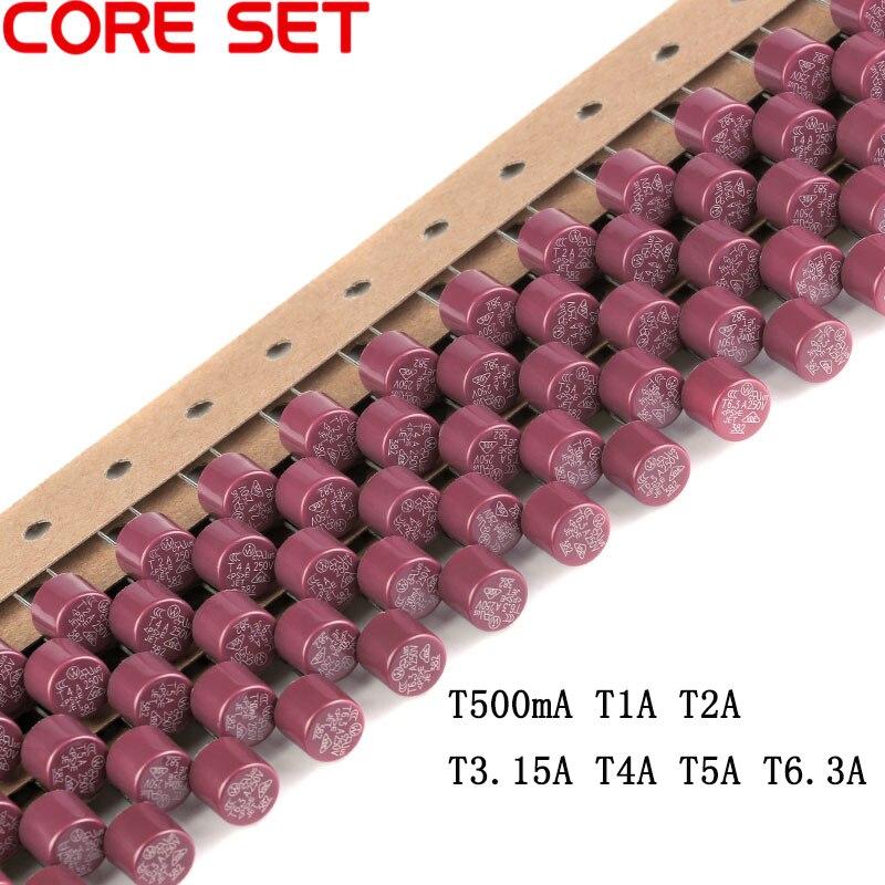 10 pçs/lote Fusíveis Cilíndricos T0.5A 1A 1.6A 2A 2.5A 3.15A 4A 5A 6.3A 250V Fusível Lento 382 TV LCD placa de energia Comumente Usado