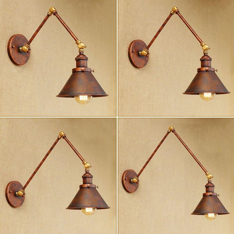 اديسون الرجعية لوفت نمط الصناعية الجدار مصباح خمر LED يندبروف قابل للتعديل سوينغ الذراع الطويلة الجدار ضوء الشمعدان يزين باريد