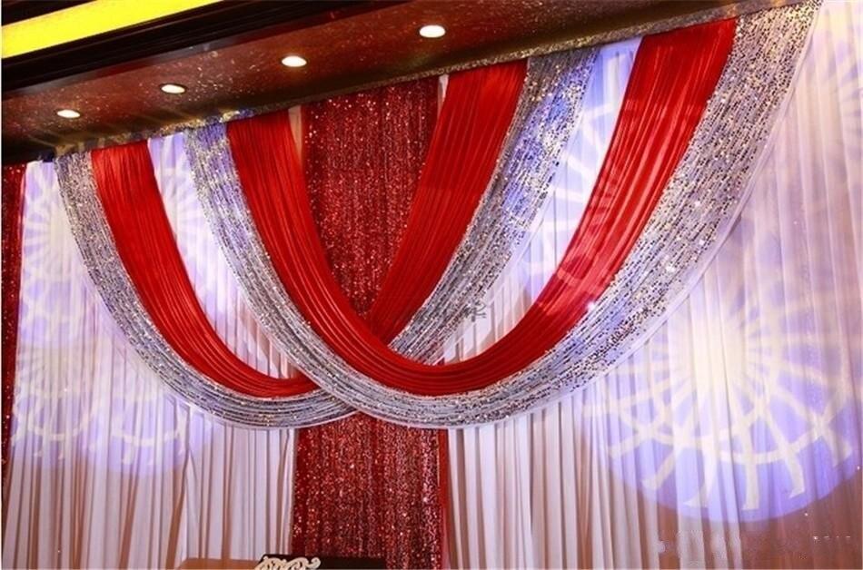 Lujo 3*6m blanco y rojo hielo seda lentejuelas boda telón de fondo cortina de fondo para boda