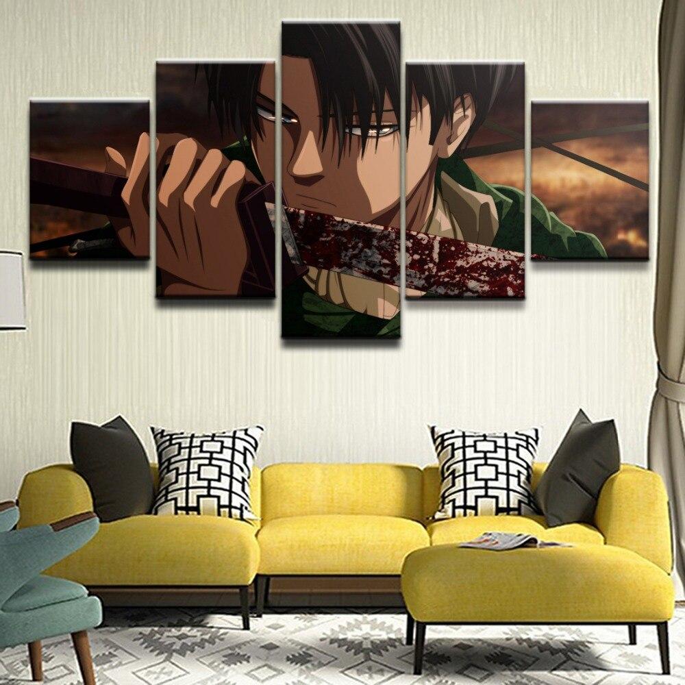 Холст, постер, домашний декор, каркас для гостиной, 5 шт., принт, атака на титанов, кровь, Леви Акерман, меч, картина на стену