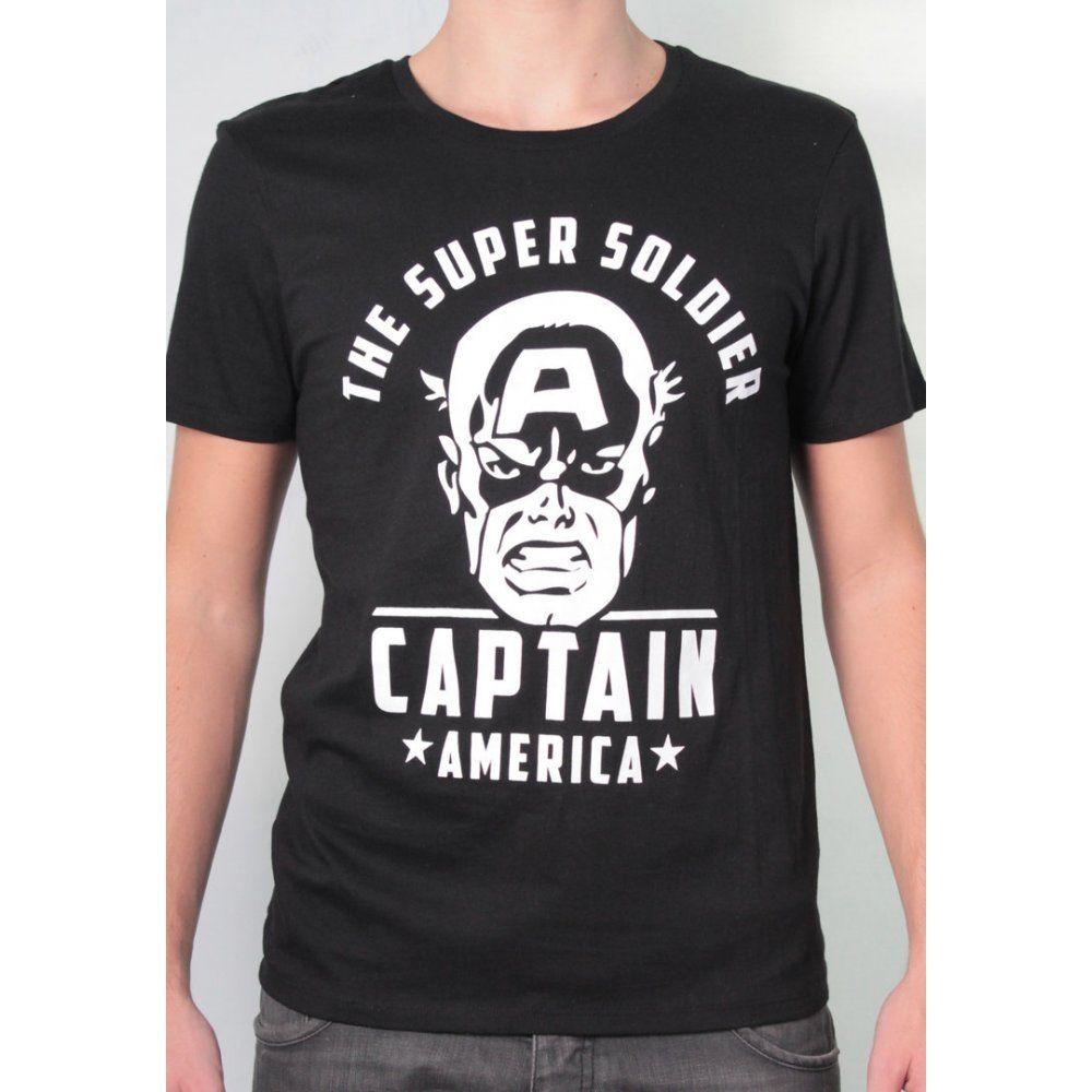 Camiseta de Hombre Con Licencia Marvel Comics capitán americano Camiseta Negra novedad Cool Tops Camiseta de manga corta para Hombre