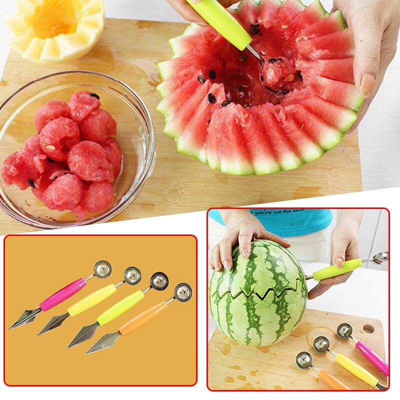 1 Uds. Utensilio de cocina creativo cuchillo para tallar fruta sandía cortador cuchara Baller decoración de frutas corte redondo cuchara Gadgets