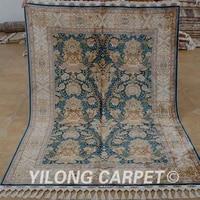 yilong 4 6x6 6 hereke silk carpet blue handmade exquisite hand knotted turkish silk rug 1794
