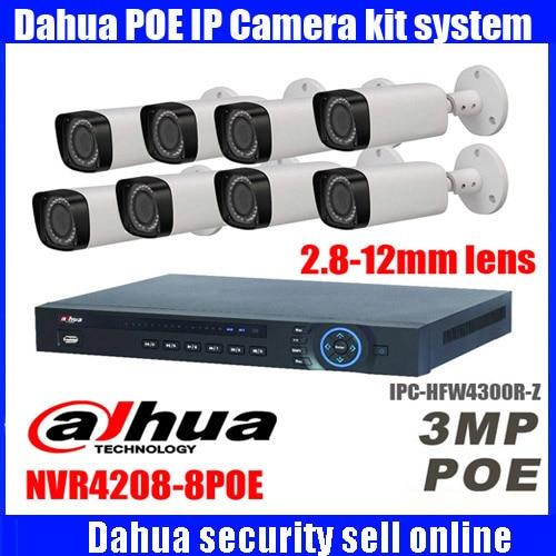 Оригинальный Dahua IPC-HFW4300R-Z 2,8 мм ~ 12 мм варифокальный IP камера комплект 3MP NVR4208-8P POE cctv камера комплект
