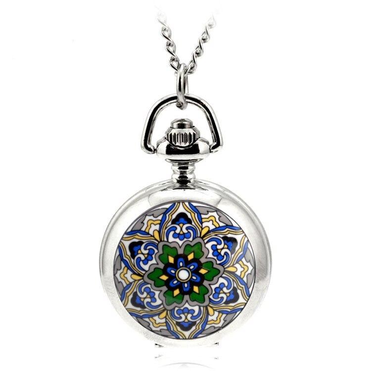 A119 Ceative cuarzo plata reloj De bolsillo COLLAR COLGANTE Relogio De Bolso COLLAR COLGANTE De las mujeres estrella De cinco puntas