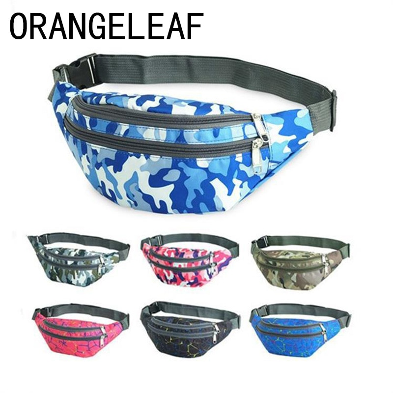 Fashion Camouflage Print Waterproof waist Bags 3 Pocket Women fanny packs Belt Bag Money Travelling Mountaineering Wholesale