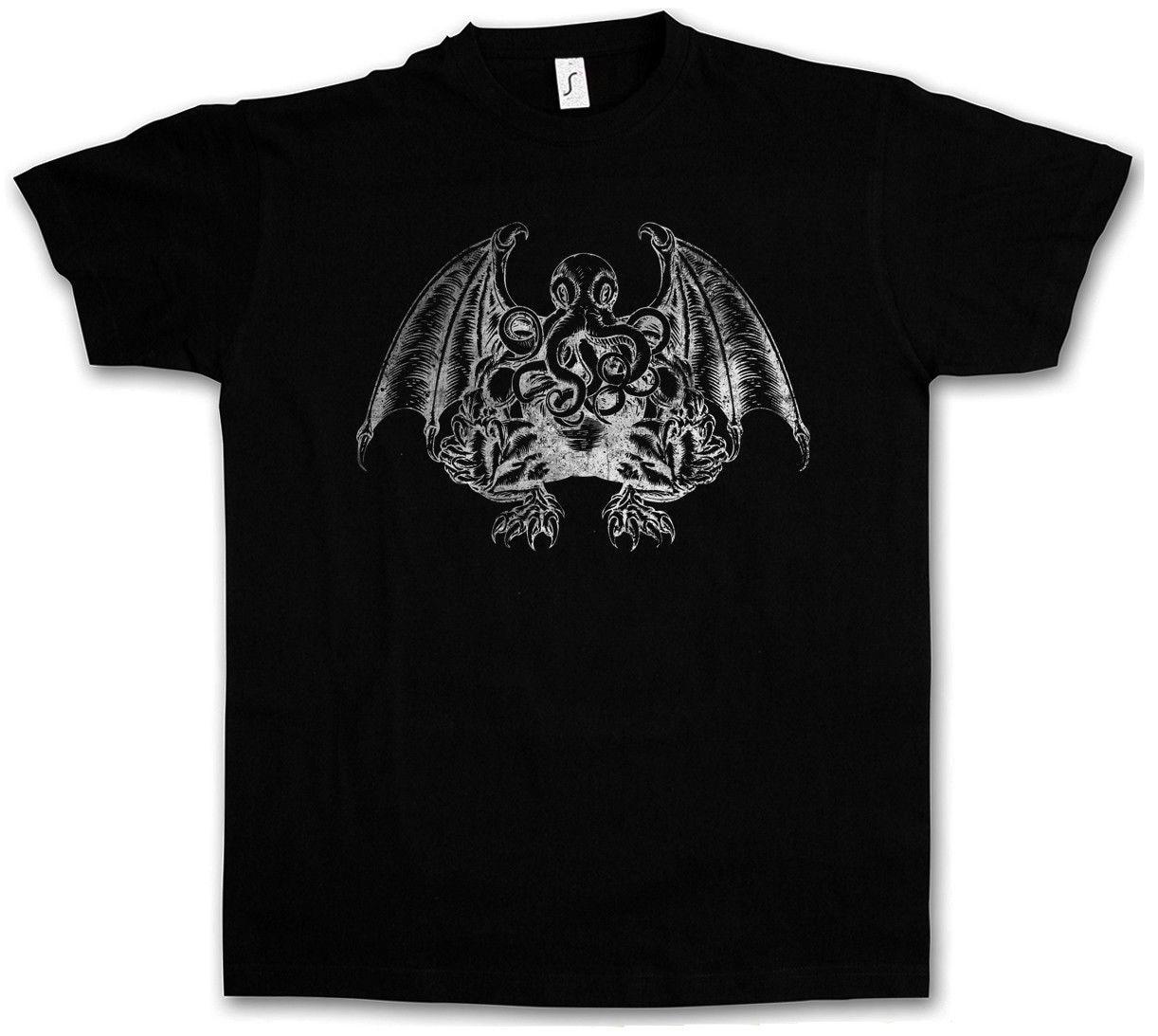 Men Casual T Shirt Cthulhu V T Shirt Wars Horror Arkham H. P. Miskatonic Lovecraft Dunwich