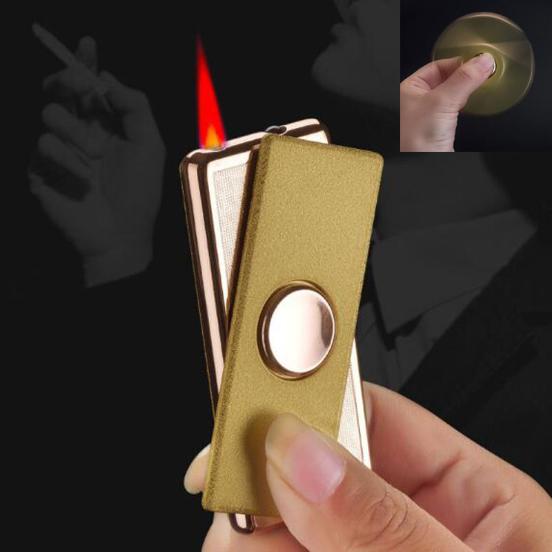Ultra Slim Rotating Fingertip Gyro Windproof Refillable Butane Gas Jet Torch Lighter Cigar Cigarette