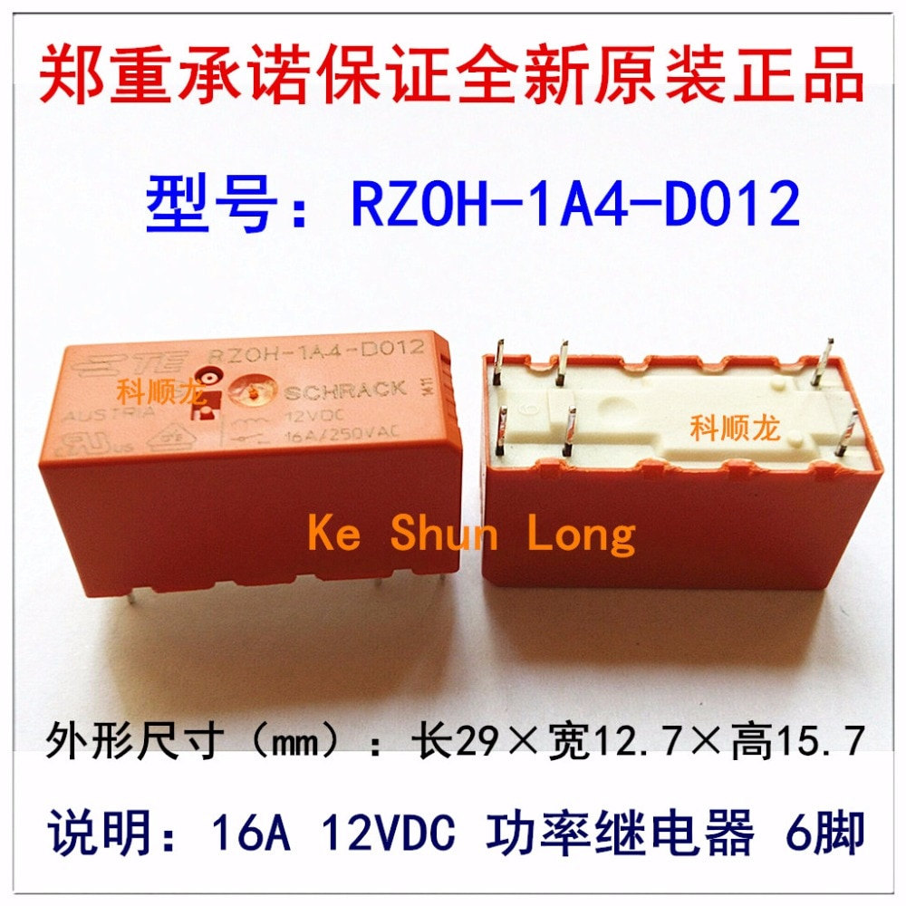 100%Original New TE TYCO SCHRACK RZ0H-1A4-D012 RZOH-1A4-D012 6PINS 16A 12VDC Power Relay