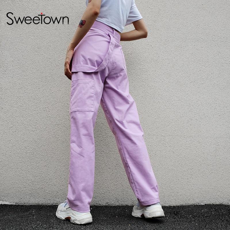 Sweetown Plus Size Pantalon Large Femme Cotton Harajuku Straight Long Pants Street Style High Waist Cargo Pants Women Streetwear