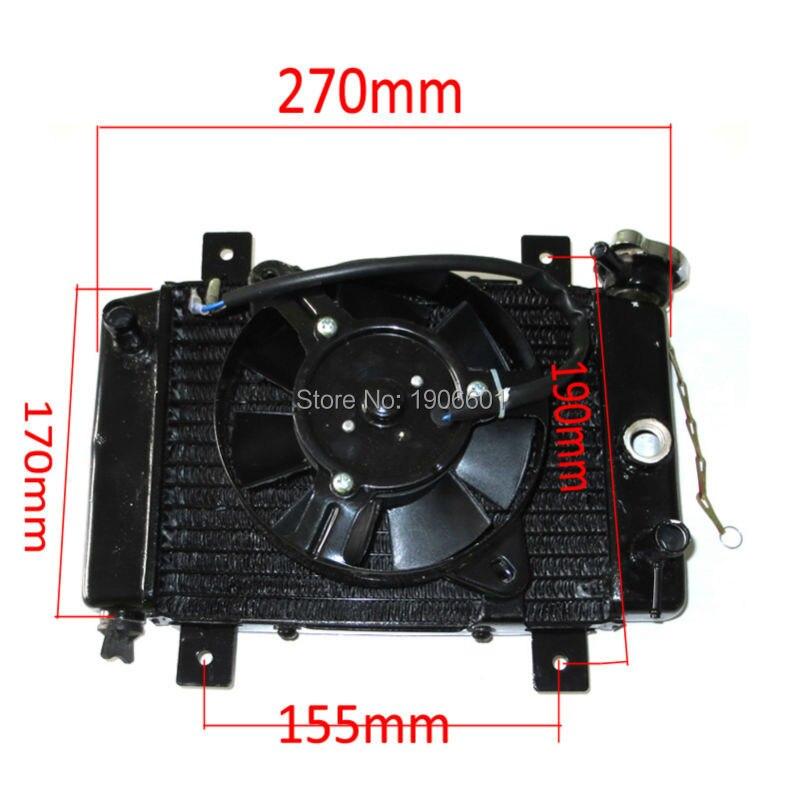 Marca nueva 150cc 200cc 250cc água de refrigeração do radiador e ventilador para quad 4x4 atv