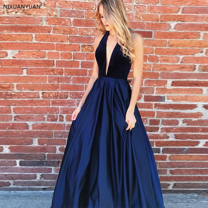 Navy Blue Prom Dresses Deep V-neck Halter Open Back Long Dress for Prom Vestido Longo Festa Gala A-line Women Prom Party Dresses