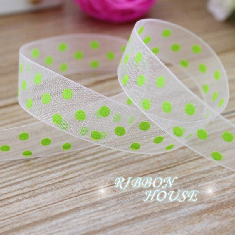 (10 jardas/lote) verde impresso organza fita pontos coloridos fita presente envoltório decoração fitas
