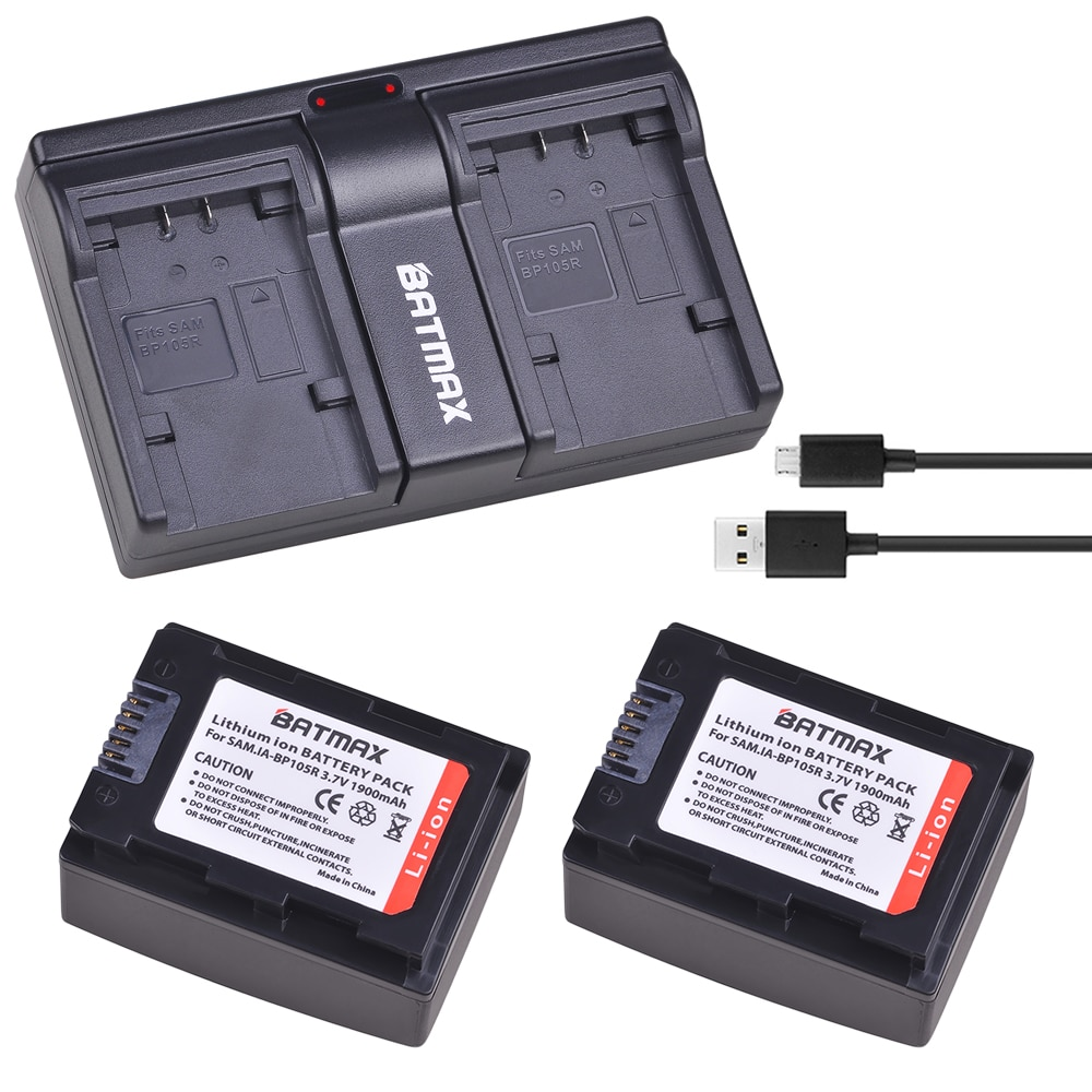 2 uds IA-BP105R IABP105R IA-BP210R IABP210R batería + de doble USB cargador para SAMSUNG SMX-F500 F501 F530 HMX-F900 F910 F920 H320