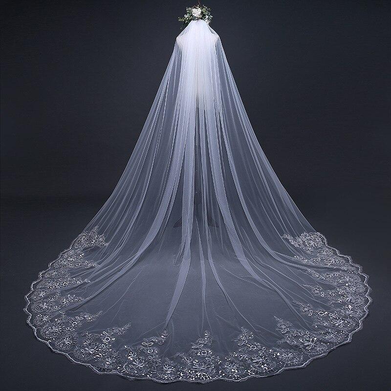 Voile De Mariee 2020 une couche dentelle bord longue mariée voiles blanc/Beige 3 mètres cathédrale mariage Voile mariage accessoire