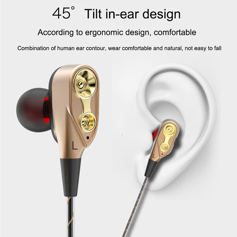 NEWNO Wired Earphones Gaming Headset Super Bass Dual Drive Stereo Headphone with Microphone earbuds For Phone Computer enlarge