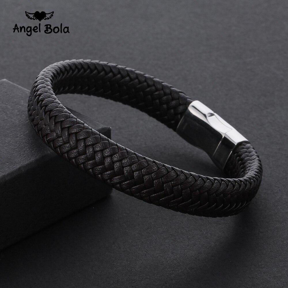 2018 moda aço inoxidável corrente pulseira de couro genuíno dos homens do vintage masculino trança jóias para mulher homem buda pulseira