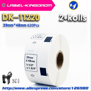 2 Refill Rolls Compatible DK-11220 Label 39mm*48mm 620Pcs Compatible for Brother Label Printer QL-700/720 White Paper DK-1220