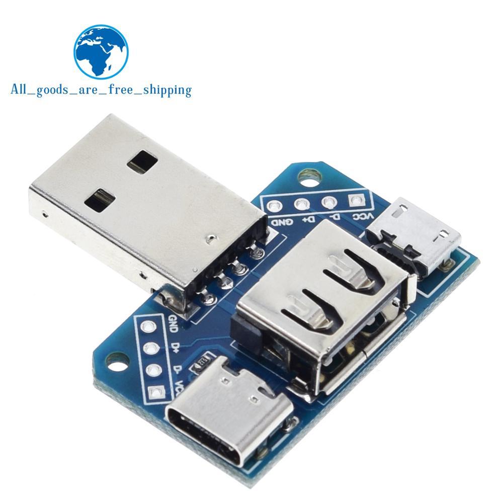 Распределительная плата с разъемом USB для разъема USB Type-c Micro Female USB 2,54-4 P тестовая Плата USB адаптер пластина XY-USB4