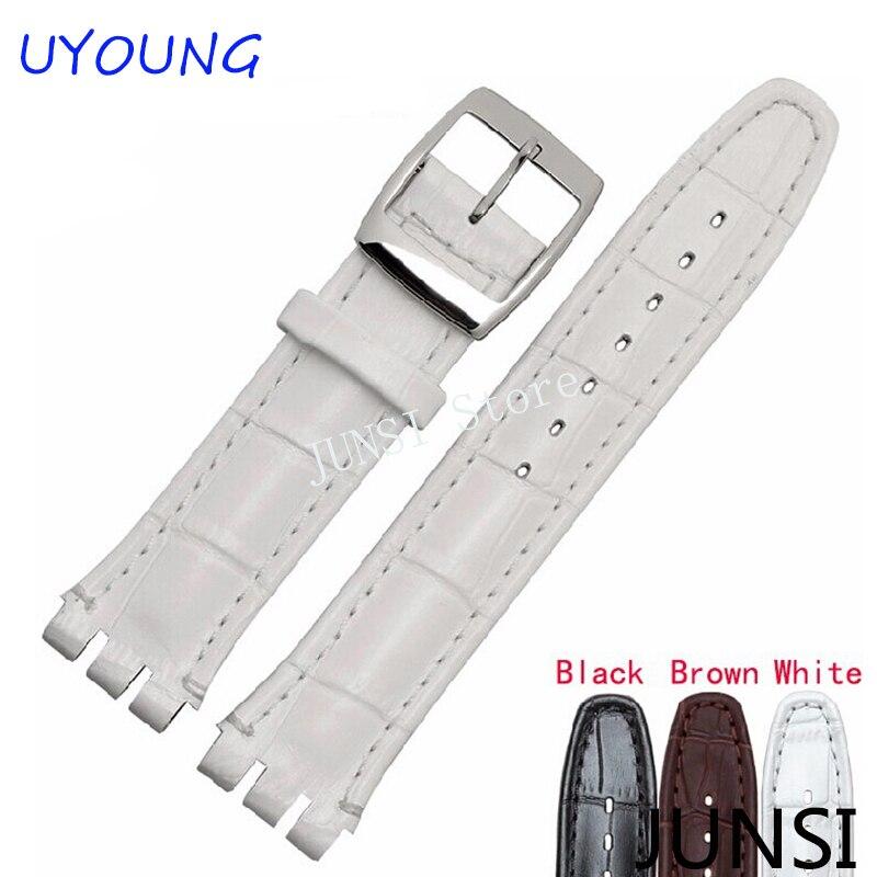 Calidad de lujo negro marrón 17mm 19mm impermeable correa de reloj de cuero genuino para hombres diseño de cocodrilo cinturón de cuero
