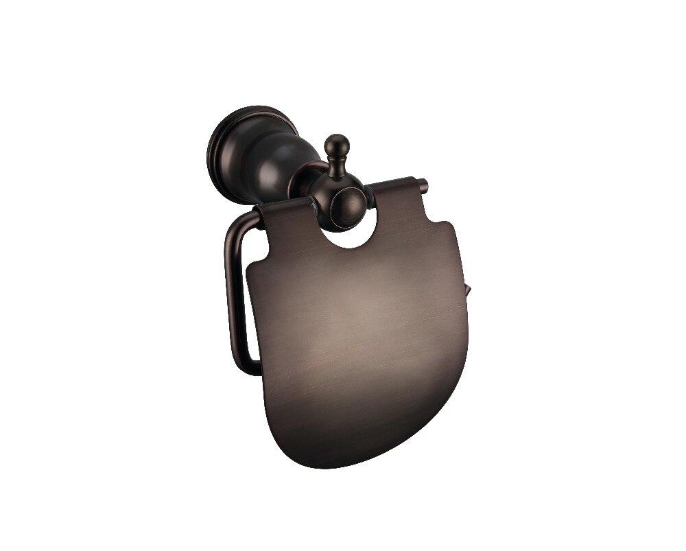Soporte de papel higiénico para baño de latón macizo, bronce, frotado con aceite, soporte de barra de tejido montado en la pared