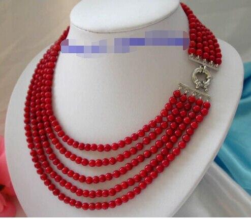 Un impresionante 5 rows 5 mm redondo rojo collar de coral crudo n1005