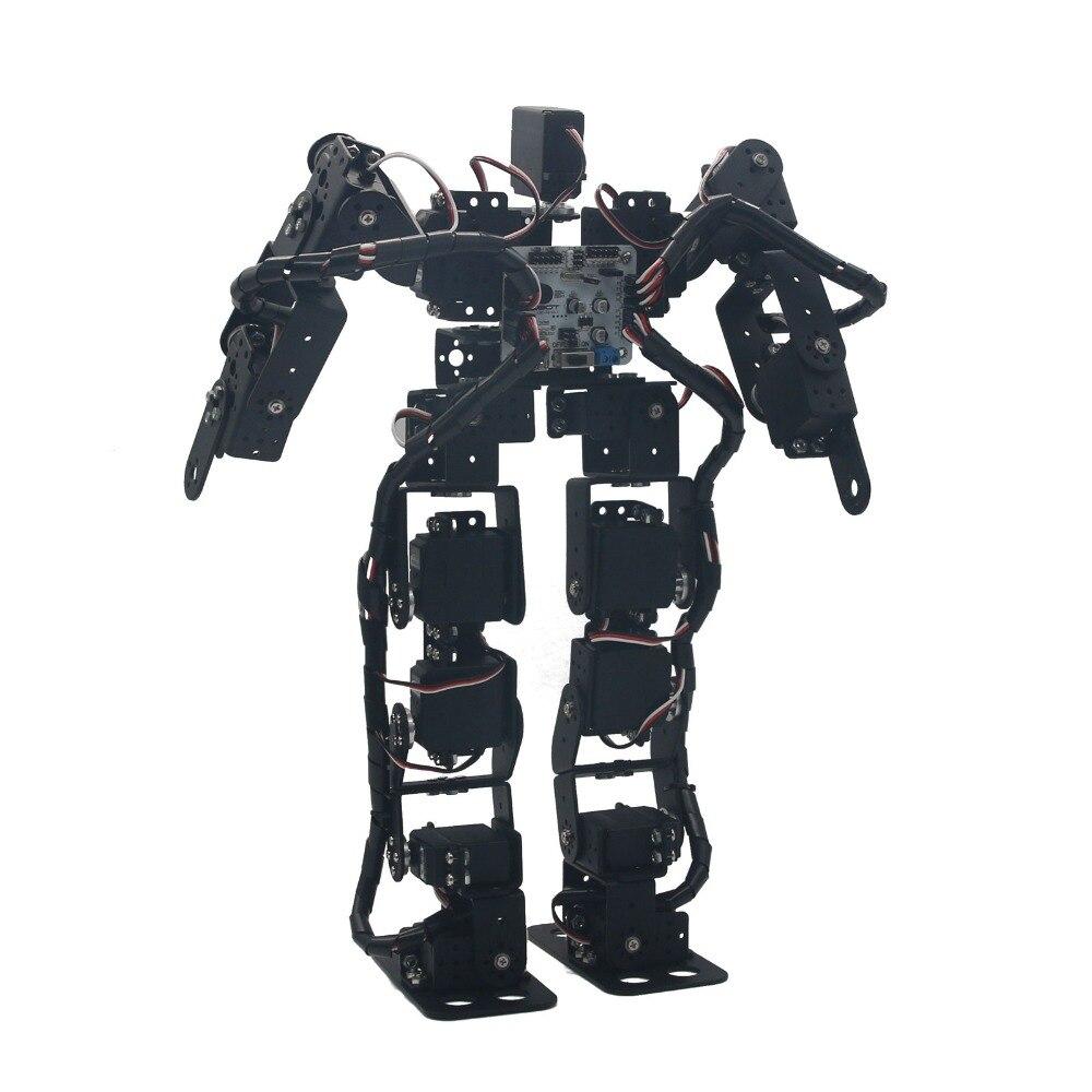 Montado Em Alumínio 17DOF Biped Robótica Educacional Robot Kit Servo Bracket Ball Bearing com LD-1501 Servos & Controlador