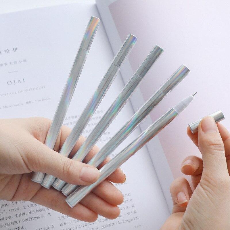Creative Laser Gel Pen black Ink Pens School Office Supply Escolar Papelaria Office Signature Pen