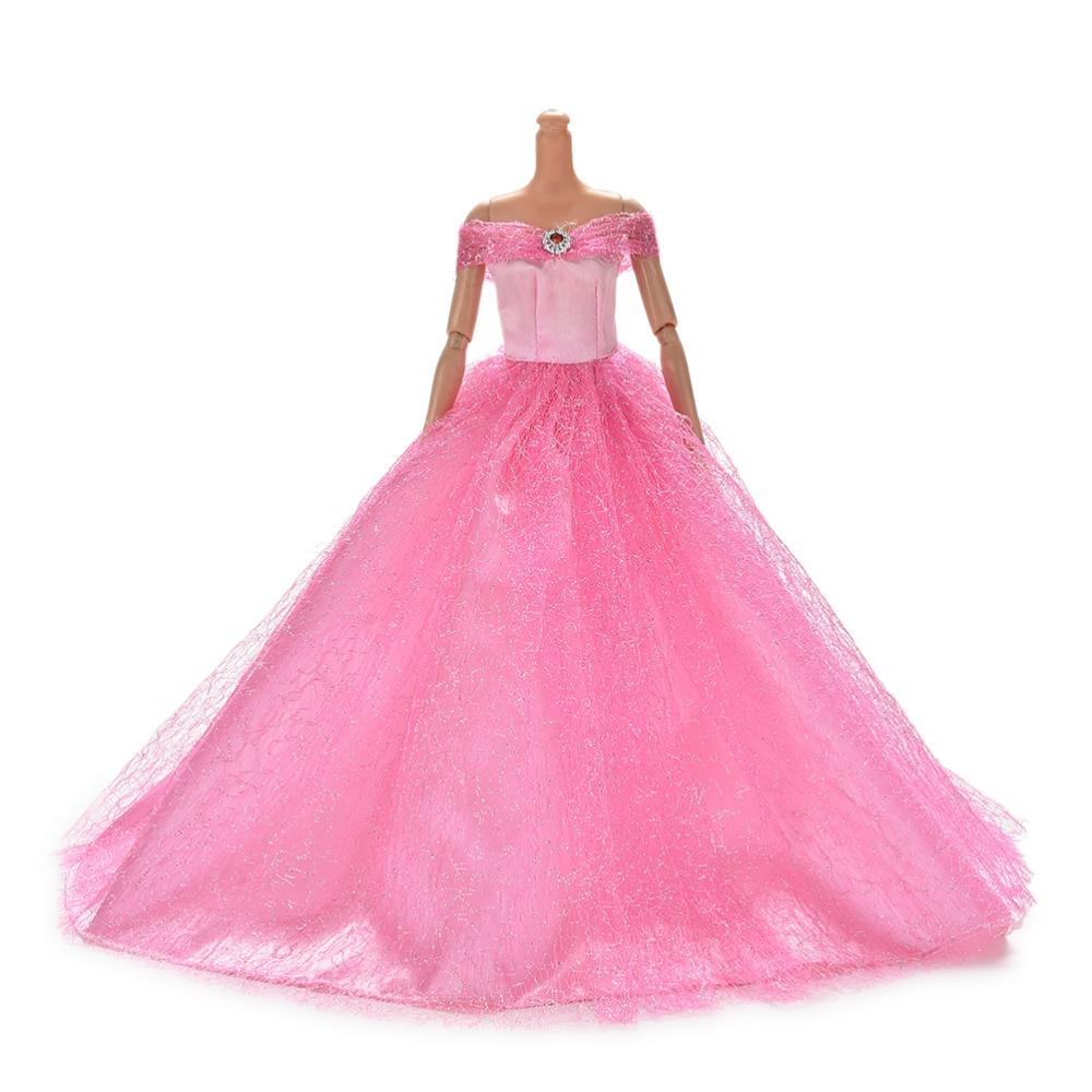 Gran oferta 7 colores disponibles vestido de princesa de boda hecho a mano de alta calidad vestido elegante para vestidos de muñeca Barbie