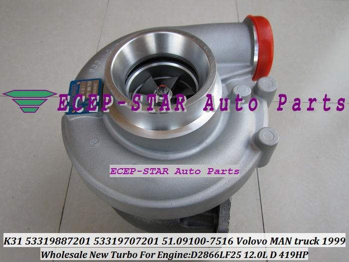 K31 7201 53319887201 53319707201 51.09100-7516 Turbo Turbine Turbocharger For Volvo For MAN Truck D2866LF25 1999- 12.0L D 419HP