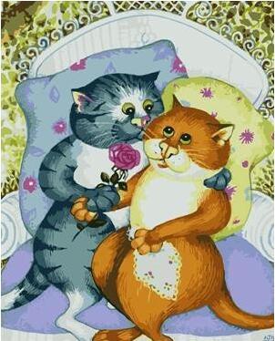 Juego de pintura acrílica con marco para gatos de 40x50cm pintada a mano por números