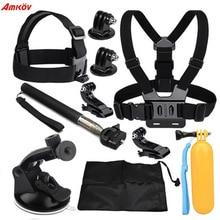 Amkov pour GoPro hero 4 3 accessoires ensemble pour Xiaomi YI 4 K Eken H9R H8R ensemble monture trépied Sport caméra accessoires kits