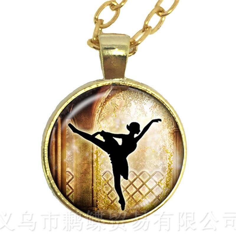 2018 nueva moda COLLAR COLGANTE 25mm cabujón de cristal colgante suéter cadena para mujeres bailarina de Ballet regalos maravillosos