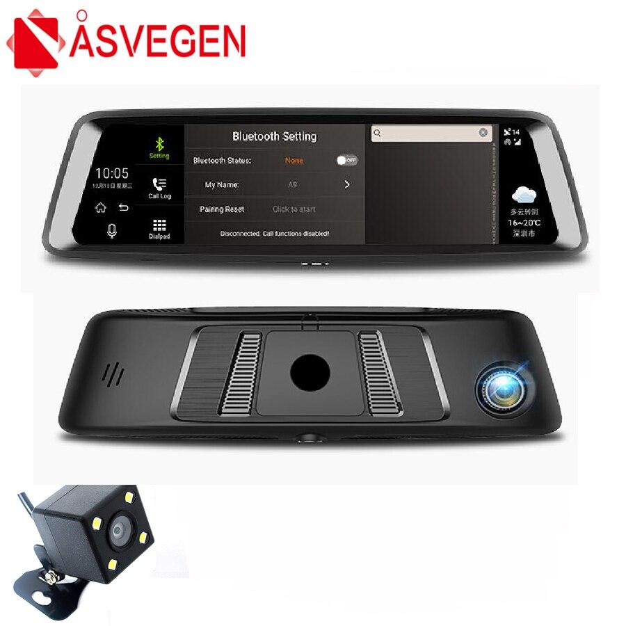 Asvegen 9,88 pulgadas 4G WIFI Bluetooth espejo retrovisor GPS estándar 1600*400 HD pantalla completa Android Car 1080P 140 grados grabadora