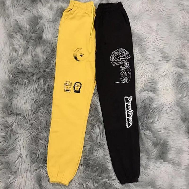Kanye West Brain Dead Gustavo pantalones de chándal 2019 Hip Hop Graffiti Pantalones deportivos sueltos hombres Pantalones