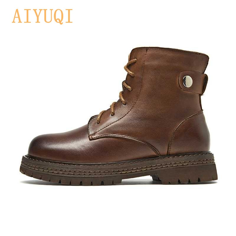 AIYUQI  Boots Women 2021 New 100% Genuine Leather Ankle Cow Womens Short Shoes